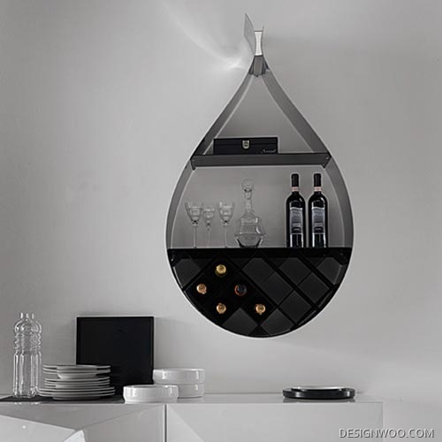 Contemporary Wall Shelves With Wine Rack By Cattelan Italia