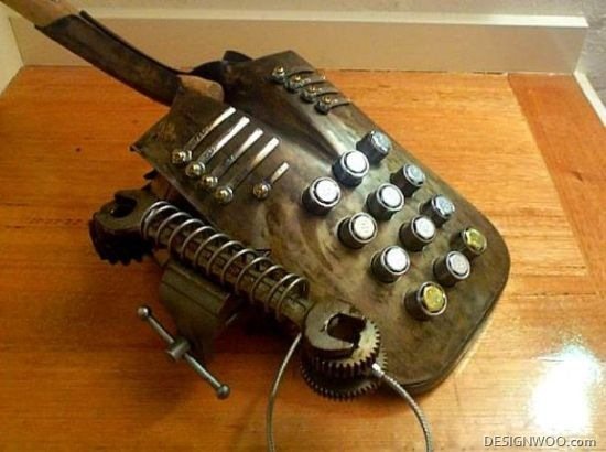 Steampunk-Looking Desk-Phone Made Using Recycled Farmer'S Tools